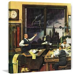 Marmont Hill Weatherman Was Right Stevan Dohanos Painting Print on Canvas 48 x 48 Home Decor Wall Decor Canvas Art