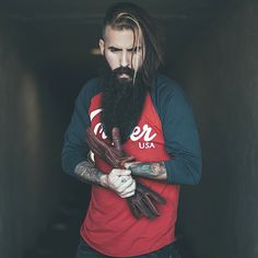 Trig Perez - beautiful full thick long beard and mustache epic beards bearded man men natural length mens style street clothing tattoos tattooed bearding handsome #beardsforever