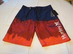 Men's Hurley board shorts swim trunks boardshorts 34 6cd Brt Crimson Relief NWT #Hurley #BoardSurf