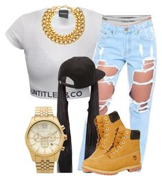 A fashion look from July 2015 featuring white tee, destroyed jeans and calvin klein panties. Browse and shop related looks. Trill Fashion, Dope Fashion, Fashion Days, Urban Fashion, Teen Fashion, Fashion Trends, High Fashion, Tims Outfits, Timberland Outfits