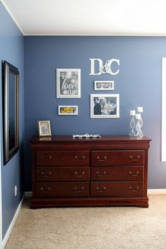 Carrie this home budget room makeover, love the wall color!  And the letter art!