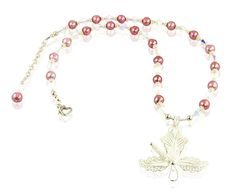 Opal Pink Pearl Hibiscus Beaded Necklace