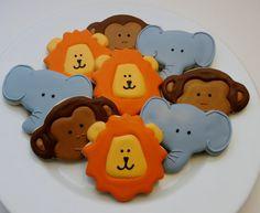 Jungle animal, zoo animal decorated cookie favors: monkeys, lions and elephants, 1 dozen