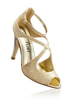 Außergewöhnliche Sandalette stellt Ihre Füße ins Rampenlicht - gold glitter
