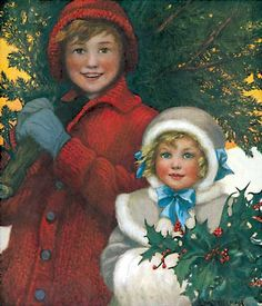 Childhood Christmas Girls Imprint: Laughing Elephant Trees Winter'