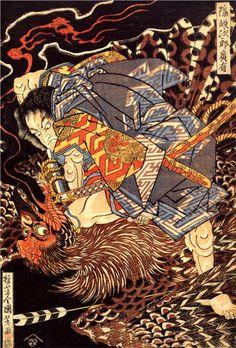 Utagawa Kuniyoshi: Oki no Jiro Hiroari killing a monstrous tengu