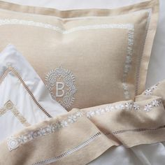 "Julia B. on Instagram: """"Zola"" hand embroidered bedding can be ordered in any color with any monogram. DM for details or visit us at www.Julia.com"" Linen Bedroom, Master Bedroom, Bedroom Decor, Embroidered Bedding, Textiles, Mother Of Pearl Buttons, Black Linen, Vintage Gifts, Hand Embroidery"