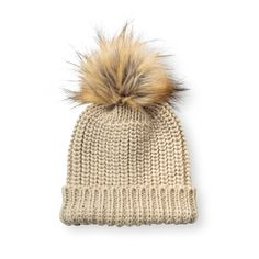 1605ac36cb4 Cream Chunky Knit Hat With Faux Fur Pom Pom R3