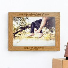 Personalised Oak A4 Wall Picture Frame The Adventures Me Engraved Large Oak Personalized Valentine Gifts Personalized Photo Frames Personalised Gifts Online