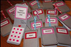 For the size, find two standard playing cards and tape them vertically together. Trace the connected cards onto the paper and cut it out and you have your phone. Just fold in half and round the edges with a scissors or corner rounder. Candy buttons and pixie sticks that can be found at a local party store.
