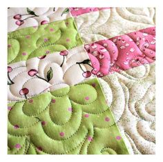 Lap Quilt in Pastel Pink Green and Blue by QuiltSewPieceful, $195.00
