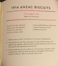 If anyone would like the CWA 1914 recipe for ANZAC biscuits, yearn no more. It's from Jam Drops and Marble Cake Old Recipes, Vintage Recipes, Sweet Recipes, Baking Recipes, Cookie Recipes, Biscuit Cookies, Biscuit Recipe, Cake Cookies, Crack Crackers