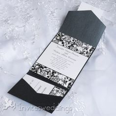 Cheap Black And White Floral Pocket Wedding Invitations IWPS089