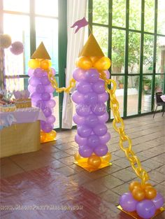 rapunzel decoracion en globos - Buscar con Google