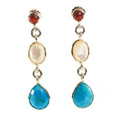 Pre-owned Ippolita Sterling Silver Turquoise Pearl Garnet Grotto Stone... ($716) ❤ liked on Polyvore featuring jewelry, earrings, stone earrings, green turquoise earrings, pearl jewelry, sterling silver turquoise jewelry and sterling silver earrings