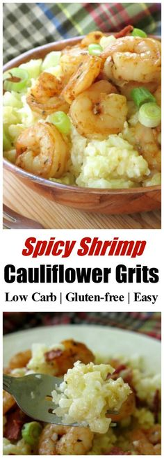 Spicy Shrimp and Cheesy Cauliflower Grits are easy enough for a busy weeknight, tasty enough for company and the perfect recipe for a low-carb, gluten-free diet! Healthy recipe for a comfort food you will make again and again.