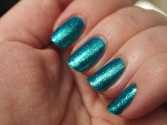 ORLY - Halley's Comet. I owned the original, but accidentally picked this up because it was in the new packaging. I think they've reformulated it, because I like this one better! The gold shimmer was gone, leaving this a blue/green duo glass fleck. It's also almost perfect at one coat, though I did two to cover some bald spots. Turquoise Nail Polish, Halley's Comet, Bald Spot, Almost Perfect, Blue Green, Packaging, Nails, Coat, Glass