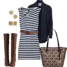 Have these pieces, navy stripe dress, blazer & boots
