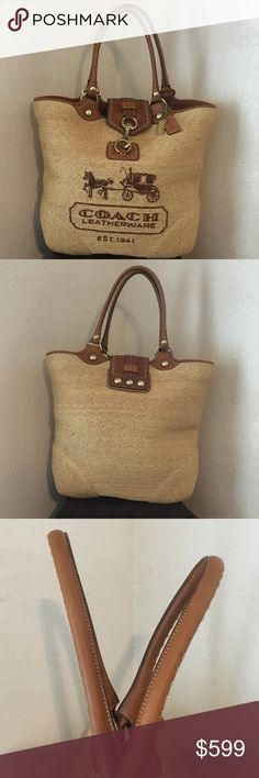 Coach Bleecker Straw Tattersall XL Beach Tote RARE This is a Very Rare Coach Bleecker Embossed British Tan Vachetta Leather and Straw Horse and Carriage Super XL Beach Tote. This is the original owners bag. It comes from her Huge Coach Collection and Estate. The Brass Finishings are shining and in Fantastic Condition. The handles show NO patina. This means this bag was never to once used. Patina comes from the oils from your hands on the leather handles making them darker. Superior Condition…