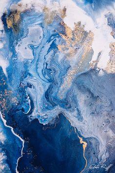 Ocean inspired - Fluid Art - Boho home - Blue Art - Gold x Blue - Acrylic Painting - Fluid Painting decor blue gold Credit: Ana Riff Diy Marble, Marble Art, Blue Abstract Painting, Marble Painting, Abstract Paintings, Screen Wallpaper, Iphone Wallpaper, Site Art, Art Bleu