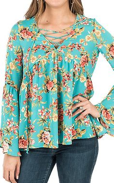 Peach Love Women's Turquoise Floral Print with Lace Up Front and Long Bell Sleeves Fashion Top | Cavender's