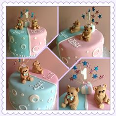 Twins birthday cake by Exquisite Cakes 2 Fondant Cake Designs, Fondant Cakes, Cupcake Cakes, Girl Shower Cake, Shower Cakes, Brithday Cake, Twin Birthday Cakes, Twins Cake, Birthday Party Snacks