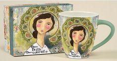 Hello Faith Christian mug for women by Kelly Rae Roberts. Mugs Cafe, Kelly Rae Roberts, Christian Gifts For Women, Religious Gifts, Gifts For Her, Faith, Gallery, Iron, Garden