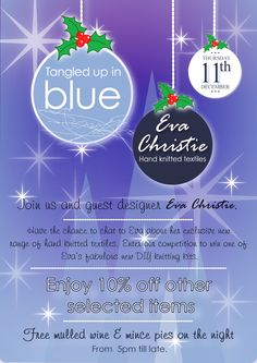 Join TUIB and guest designer Eva Christie for a  special Christmas shopping event. Thursday 11th of December. TUIB :)