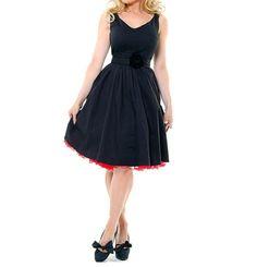 Wholesale Vintage V-Neck High Waist Sleeveless Women's Black Pleated Dress (BLACK,S), Vintage Dresses - Rosewholesale.com