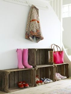Funky Junk Interiors - Repurposed home decorating with salvaged architecture and reproduction vintage signs. Entryway Storage, Crate Storage, Shoe Storage, Crate Shelves, Shoe Racks, Easy Storage, Storage Ideas, Shoe Shelves, Storage Shelves