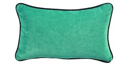 Coussin Carlotta velours turquoise passepoil anthracite 45x45 - Autrement dit