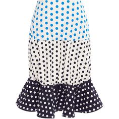 J.W. Anderson Printed Stretch Drill Puff Hem Skirt ($705) ❤ liked on Polyvore featuring skirts, bottoms, white polka dot skirt, puffy skirts, white stretch skirt, dot skirt and white skirt
