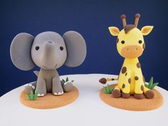 Safari Animals Cake Topper/Elephant Cake Topper/Giraffe Cake Topper/Keepsake Cake Topper/Safari Themed Party/Baby Shower/Safari Party/AirDry Elephant Cake Toppers, Giraffe Cakes, Safari Cakes, Baby First Birthday Cake, Birthday Cake Girls, Fondant Figures, Lion Cakes, Safari Theme Party, Fondant Animals