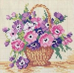 Basket of flowers cross stitch pattern Just Cross Stitch, Cross Stitch Cards, Cross Stitch Flowers, Cross Stitch Kits, Cross Stitch Designs, Cross Stitching, Cross Stitch Embroidery, Embroidery Patterns, Cross Stitch Patterns