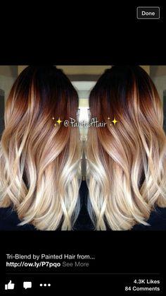 Tri-color Blonde ombré