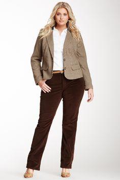 NYDJ Marilyn Straight Leg Corduroy Jeans in Ganache (Dark Brown), Size 16