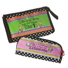 """Midwest-CBK Plan B Small Cosmetic Bag, Set of 2 by Midwest-CBK. $24.00. 9-inch by 1-1/2-inch by 6-inch design. Set of two cosmetic bag. Made from microfiber. Small bag reads """"i may do follish things but?i do them with enthusiasm """". Large Bag Reads """"Life is all about how you handle plan B"""". Celebrate the sisterhood of wonderful, wacky women. New designs from wildly popular artist Suzy Toronto are perfect for today's laptop toting and traveling types. On the home front, fun grap..."""