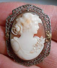 Antique lady bust head with flowers cameo 10K gold filigree frame nice pretty
