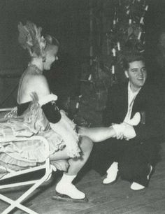 February 07, 1959 - Elvis attended the Holiday on Ice Show in Frankfurt. He had become friendly with a number of the skaters and paid them a visit backstage. 5