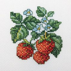 """Wild Strawberries Counted Cross Stitch Kit-4""""X4"""" 14 Count"""