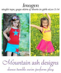 Imogen singlet tops and yoga skirts in girls sizes 2-14   YouCanMakeThis.com