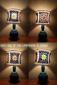 Bohemian Lamp Shade Colorful Purple Blue Pink White Yellow Crochet Granny Square Unique Lighting Home Decor
