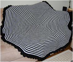 Black & White Round Spiral Afghan - Inspired By Tim Burton