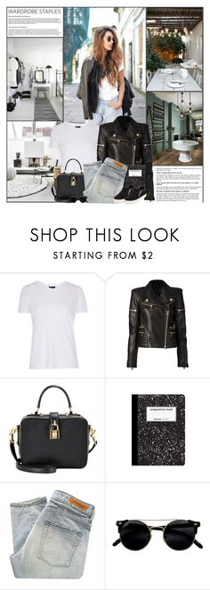 """""""Wardrobe Staples: Jeans, Tee and Leather Jacket"""" by kittyfantastica ❤ liked on Polyvore featuring Topshop, Balmain, Dolce&Gabbana, Denham and Ash"""