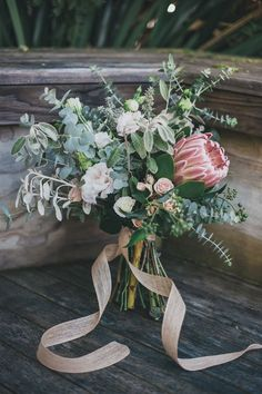 wedding bouquet - love the protea #weddingbouquets