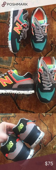 New Balance 574 sneakers Really cool colors, worn once. New Balance Shoes Athletic Shoes