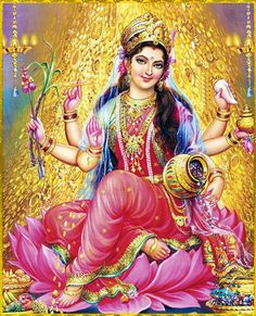 "☀ MAHA LAKSHMI DEVI ॐ ☀Artist: V.V.Sagar""You are the mother of all creatures, as that God of gods, Hari, is their father. And this universe, consisting of moving and nonmoving entities, is presently permeated by you, as well as Vishnu.""~Lakshmi stuti"