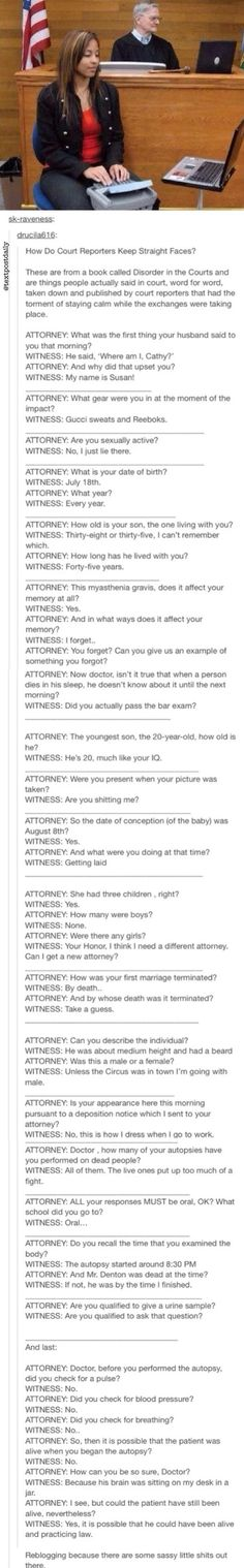 Tumblr- Disorder in the Court actual testimonies! Hilarious