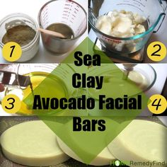 DIY sea clay avocado facial soap bars. clears skin of acne, Exfoliating, moisturizing, works well as face mask to DIY http://www.homeremedyfind.com/how-to-make-sea-clay-avocado-facial-bars-at-home/
