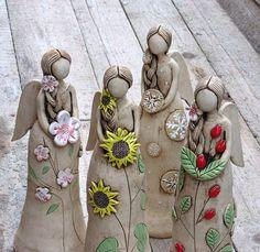 Čtvero ročních období / Zboží prodejce ZARIA | Fler.cz Paper Mache Crafts, Polymer Clay Crafts, Paper Clay, Clay Art, Clay Angel, Pottery Angels, Ceramic Angels, Paper Mache Sculpture, Slab Pottery